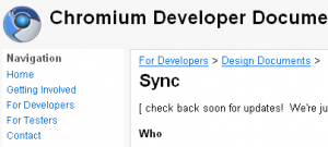 Chromeでブックマークを同期する「Sync」開発版