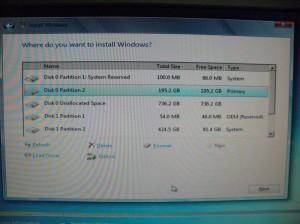 システムドライブ200GBを作成した直後